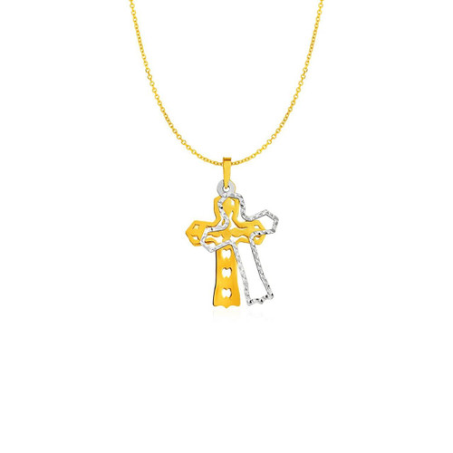 Two Layer Cross Pendant in 14K Two Tone Gold