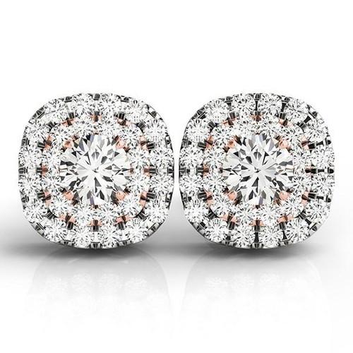 14K White and Rose Gold Cushion Shape Halo Diamond Earrings (3/4 ct. tw.)