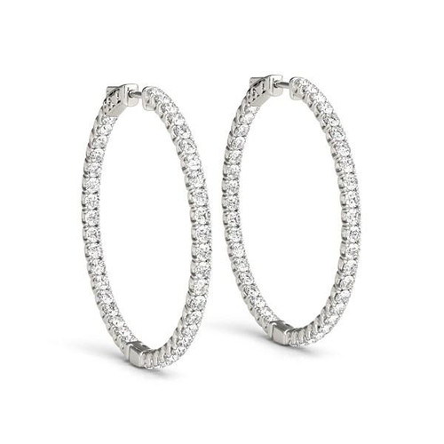 14K White Gold Diamond Hoop Earrings with Shared Prong Setting (2 ct. tw.)