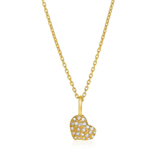 14kt Yellow Gold 16 inch Necklace with Gold and Diamond Heart Pendant (1/10 ct. tw.)