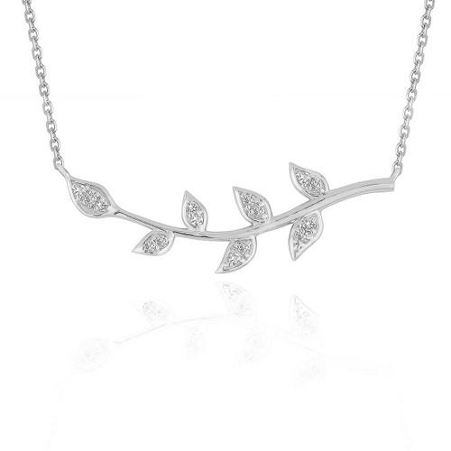 Diamond Vine Design Pendant in 14K White Gold
