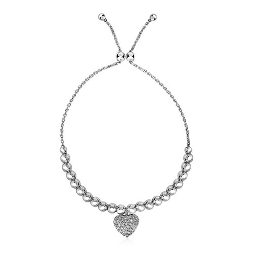 Adjustable Bead Bracelet with Round Charm and Cubic Zirconias in Sterling Silver - 59675-9.25