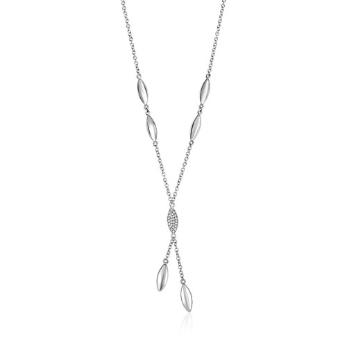 14K White Gold and Diamond 17 inch Puff Marquise Drop Necklace (1/10 ct. tw.)
