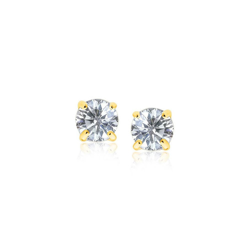 14K Yellow Gold Stud Earrings with White Hue Faceted Cubic Zirconia - 67275