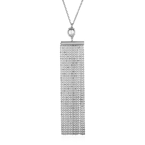 Necklace with Multi Chain Pendant in Sterling Silver - 67326-18
