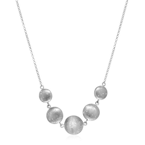 Necklace with Textured Ball Beads in Sterling Silver
