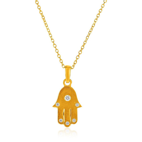 14K Yellow Gold 18 inch Necklace with Gold and Diamond Hand of Hamsa Pendant