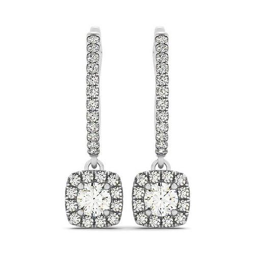 Cushion Shape Halo Style Diamond Drop Earrings in 14K White Gold (1/2 ct. tw.)