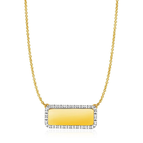14K Yellow Gold Necklace with Rectangular Engraveable Diamond Pendant