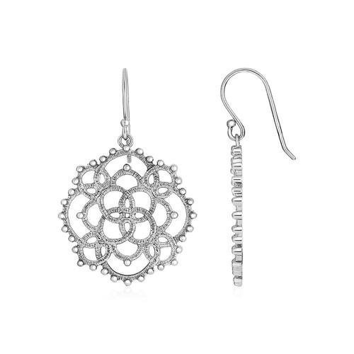 Earrings with Textured Loop Pattern Drops in Sterling Silver