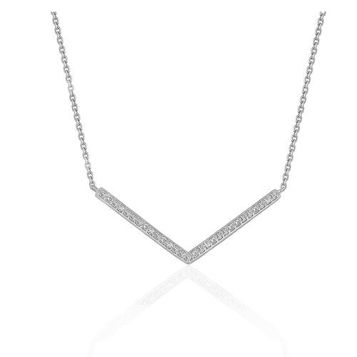 Diamond Chevron Pendant in 14K White Gold (1/3 ct. tw.)