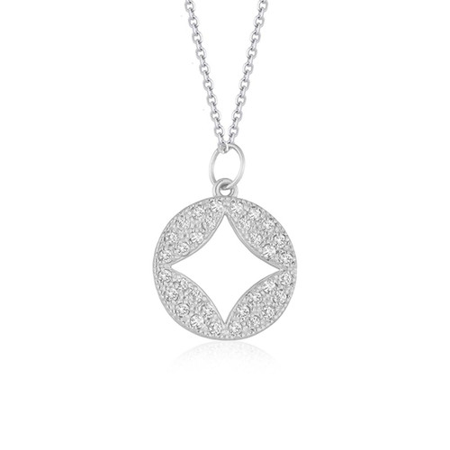 14K White Gold Diamond Studded Circle Pendant with Cut-out (1/3 ct. tw.)