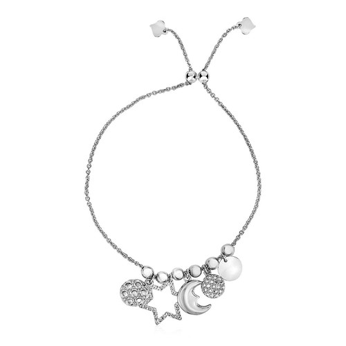 Adjustable Bead Bracelet with Celestial Charms in Sterling Silver
