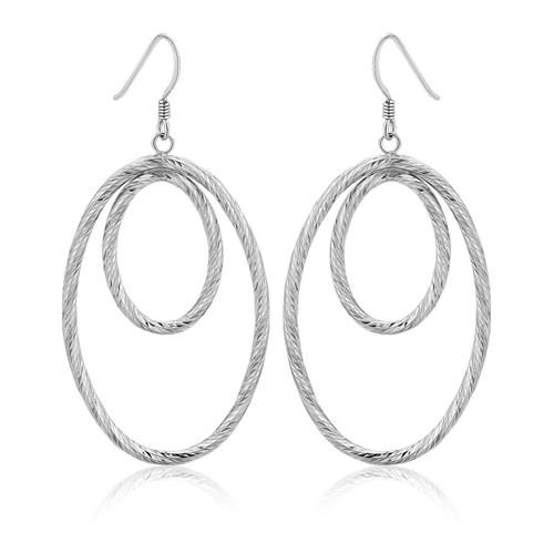 Sterling Silver Textured Dual Open Oval Drop Style Earrings