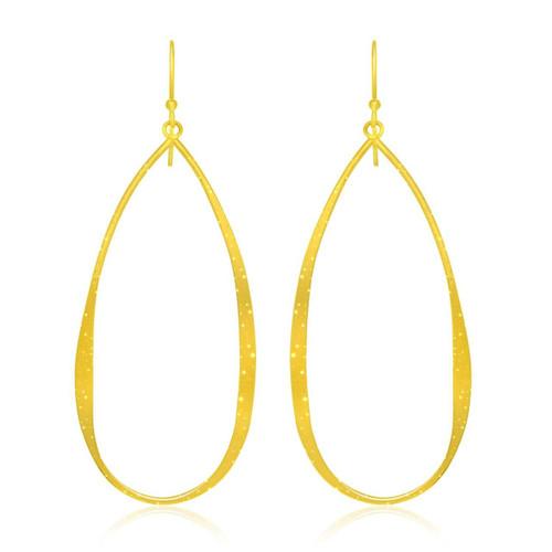 Sterling Silver Teardrop Shape Yellow Tone Stardust Dangling Earrings