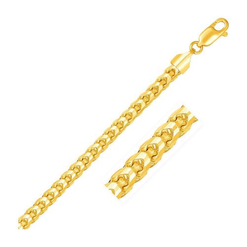 5.0mm 14K Yellow Gold Solid Diamond Cut Round Franco Bracelet