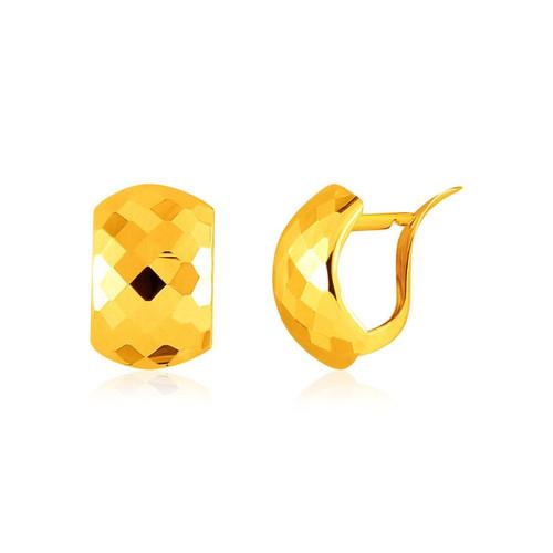 14K Yellow Gold Geometric Texture Earrings