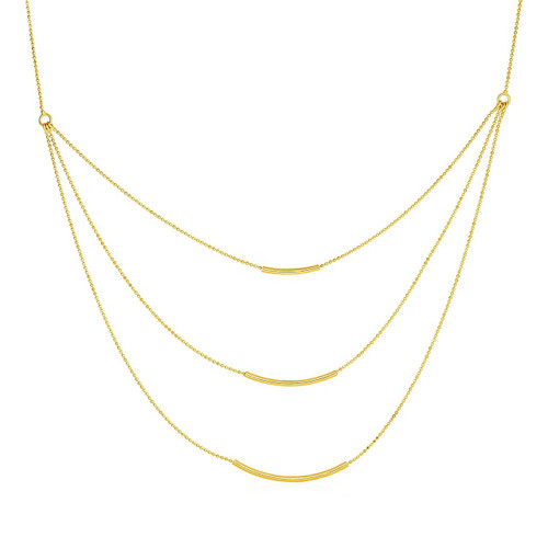 Three Layer Chain Necklace in 14K Yellow Gold