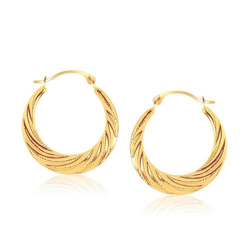 10K Yellow Gold Textured Graduated Twist Hoop Earrings