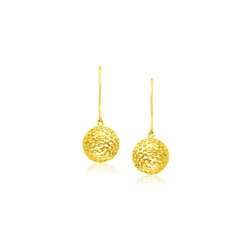 14K Yellow Gold Dangling Round Mesh Earrings - 27529