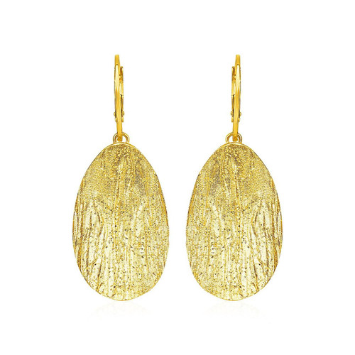 Textured Oval Earrings with Yellow Finish in Sterling Silver