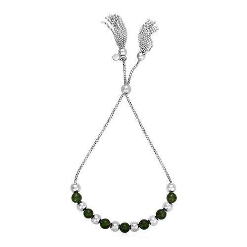 Adjustable Bead Bracelet with Green Jade in Sterling Silver