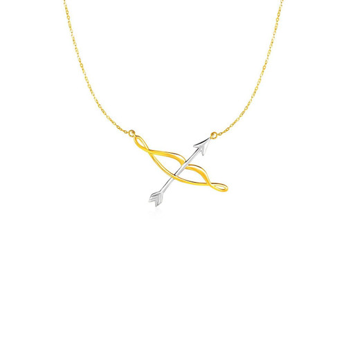 Necklace with Polished Bow and Arrow in 14K Two Tone Gold