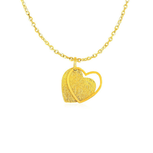 Two Layer Heart Pendant in 14K Yellow Gold