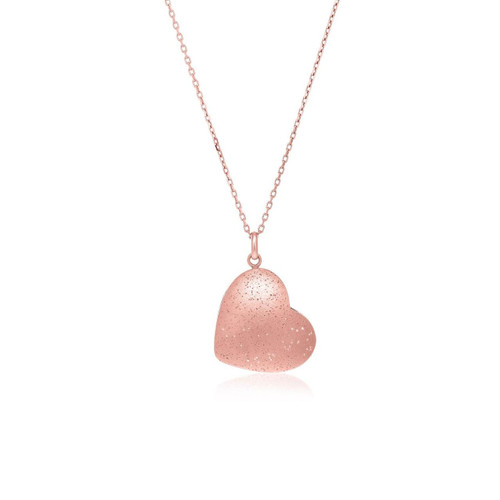 Sterling Silver Rose Tone Stardust Heart Style Pendant