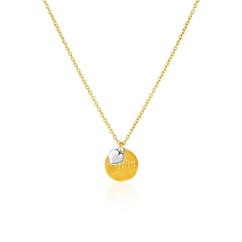 """14K Two-Toned Yellow and White Gold """"Mom"""" and Heart Pendant"""
