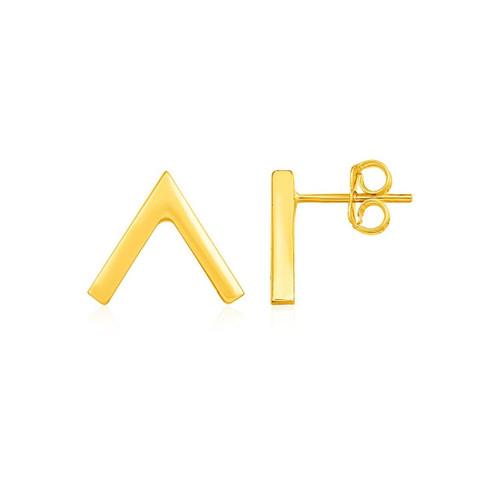 Inverted V Post Earrings in 14K Yellow Gold