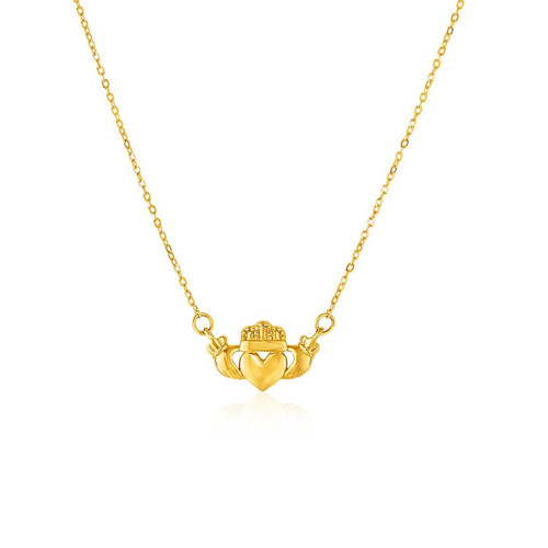 14K Yellow Gold Pendant with Claddagh Symbol