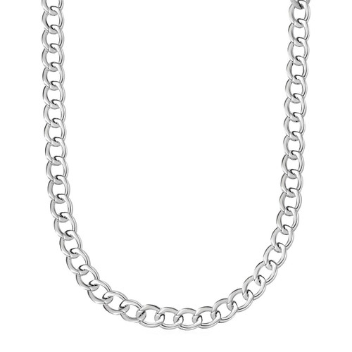 Polished Twisted Oval Link Necklace in Sterling Silver