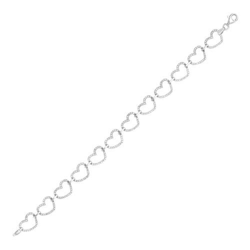 Open Heart Link Bracelet with Cubic Zirconia in Sterling Silver