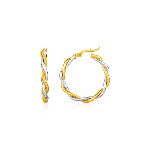 Two-Tone Twisted Wire Round Hoop Earrings in 10K Yellow and White Gold - 72041