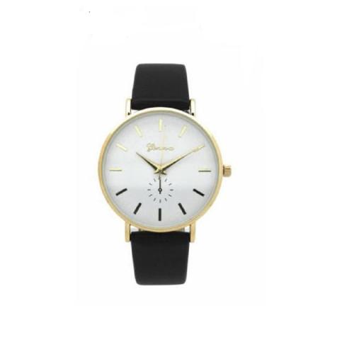 Geneva Mens Classic Round Gold Chronograph Watch Black Leather Band
