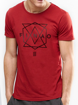 Men's Geometric Tee - Red 100% Cotton Crew Neck