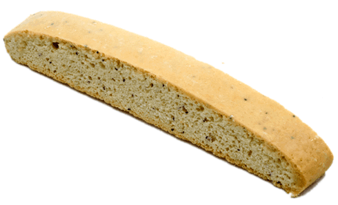 Lemon & poppy seeds in a vanilla biscotti cookie.