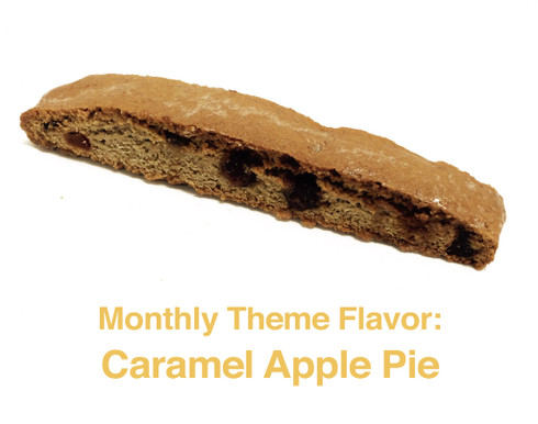 October - Caramel Apple Pie: A cinnamon biscotti with infused cinnamon and sugar, pieces of apple and caramel balls throughout, and topped with a cinnamon glaze.