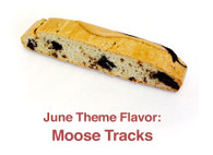 Moose Tracks - vanilla biscotti with mini peanut butter cups and dark chocolate chunks with peanut butter chocolate and dark chocolate on top