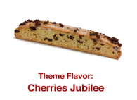Cherries Jubilee - A vanilla based biscotti with a hint of rum flavoring, chunks of dried cherries topped with cherry glaze with cherry crumbs on top.