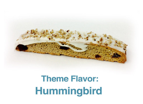 Hummingbird: Banana Biscotti with pecans and pineapples, a touch of cinnamon with cream cheese chocolate on top and crushed sprinkled pecans. Delicious!
