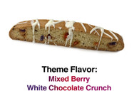 Mixed Berry White Chocolate Crunch - A vanilla biscotti with raspberries, strawberries, blueberries, and white chocolate chunks topped with a delicate, white chocolate glaze.