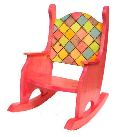 child 39 s rocking chair patchwork stained pine my chaos by design. Black Bedroom Furniture Sets. Home Design Ideas