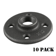 Black Floor Flange Pipe Fitting, 3/4 Inch, 10 Pack