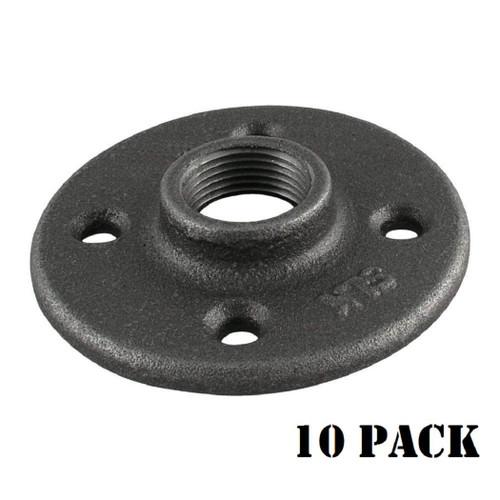 Black Floor Flange Pipe Fitting, 1/2 Inch, 10 Pack