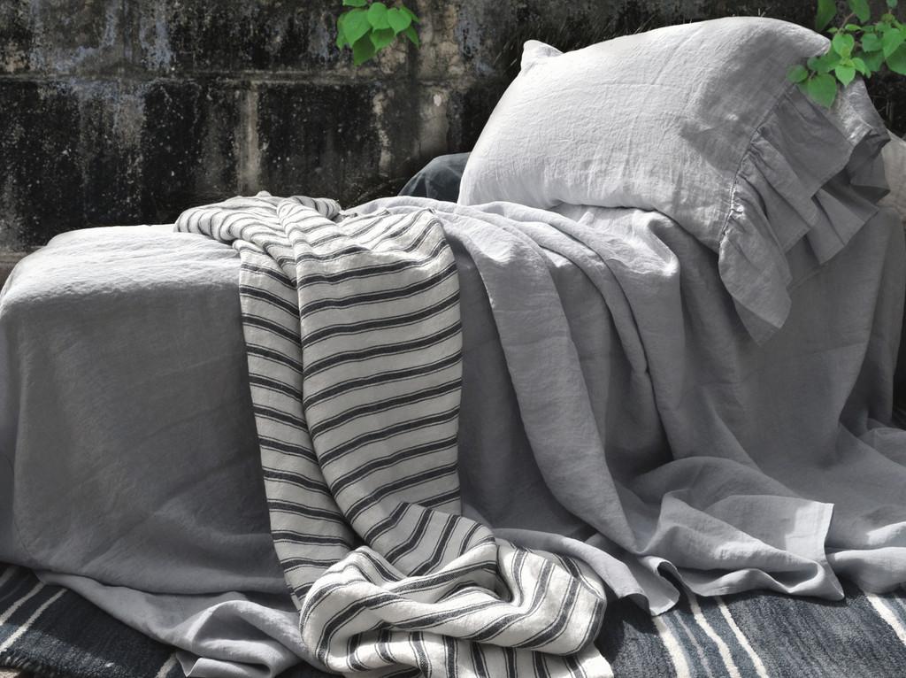 Luxurious light grey linen flat sheet, Queen and King sizes