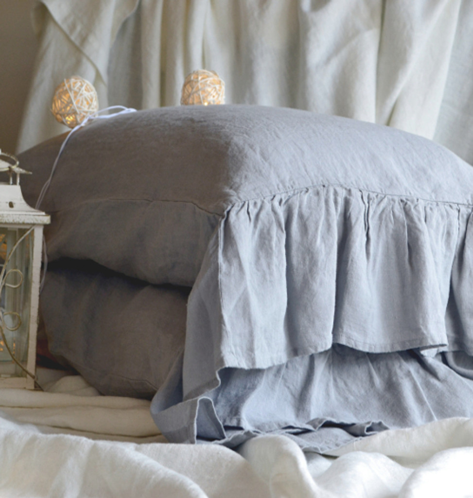 Light Grey stonewashed linen pillow cases, set of 2