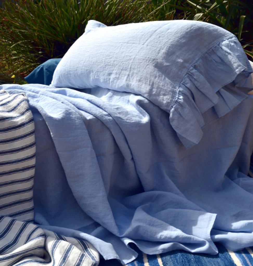 Sky blue pure stonewashed linen pillow case