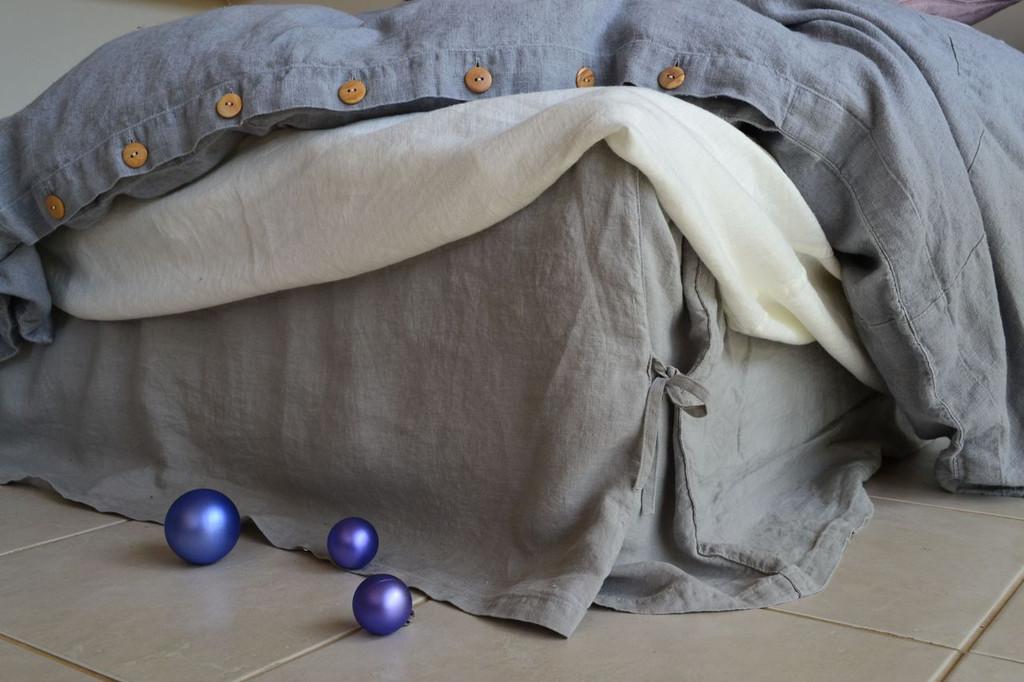 Light Grey Box Pleated Dust Ruffle, Natural stonewashed linen